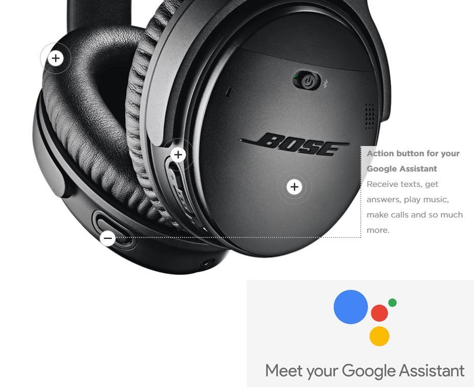אוזניות בוס QC 35 עם סינון רעשים - עוזר של גוגל