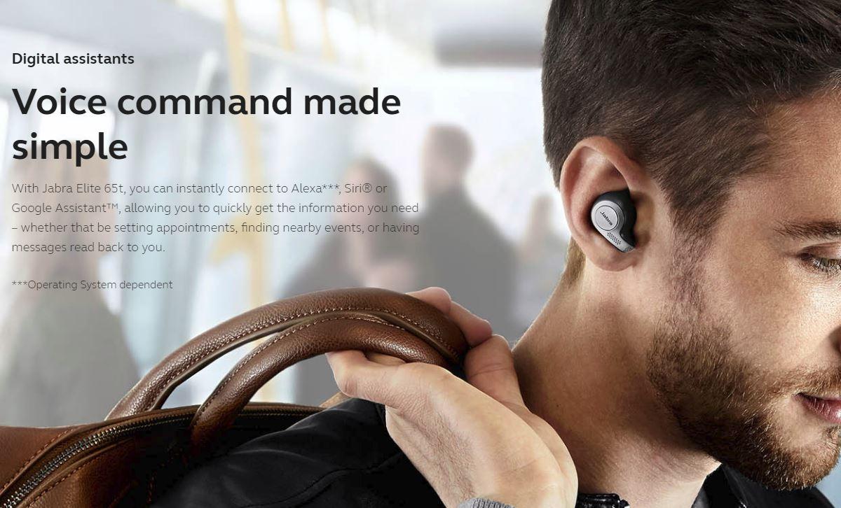 אוזניות אלחוטיות True-Wireless Jabra Elite 65T - התאמה מושלמת לאוזן
