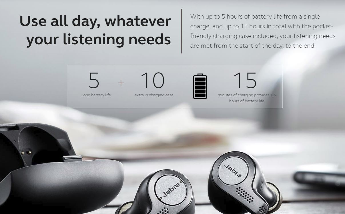 אוזניות אלחוטיות True-Wireless Jabra Elite 65T - חיי סוללה ארוכים