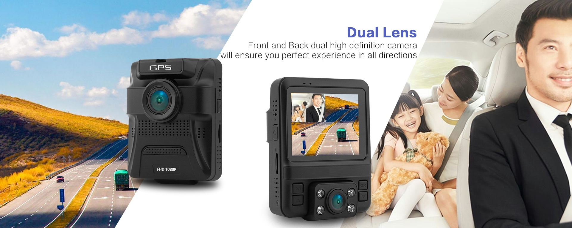 מצלמת דרך עם עדשה פנימית וחיצונית HD עם GPS מותג TAXIBOX - 2 מצלמות