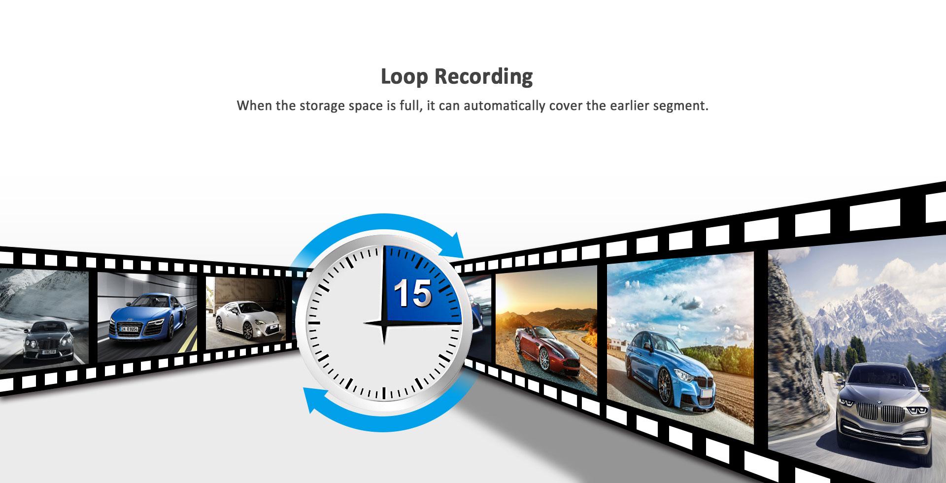 מצלמת דרך עם עדשה פנימית וחיצונית HD עם GPS מותג TAXIBOX - הקלטה בסבב