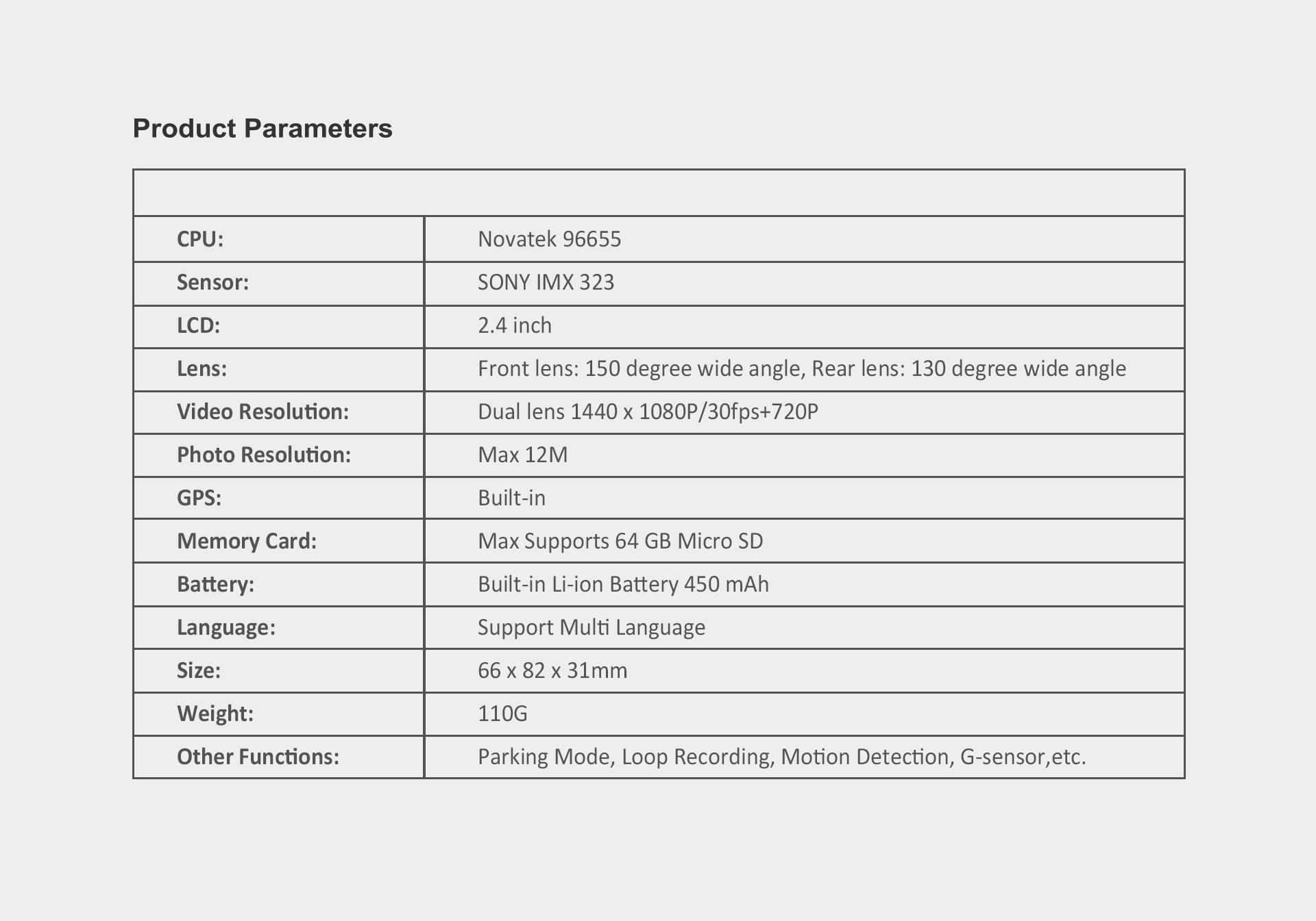 מצלמת דרך עם עדשה פנימית וחיצונית HD עם GPS מותג TAXIBOX - נתונים טכניים