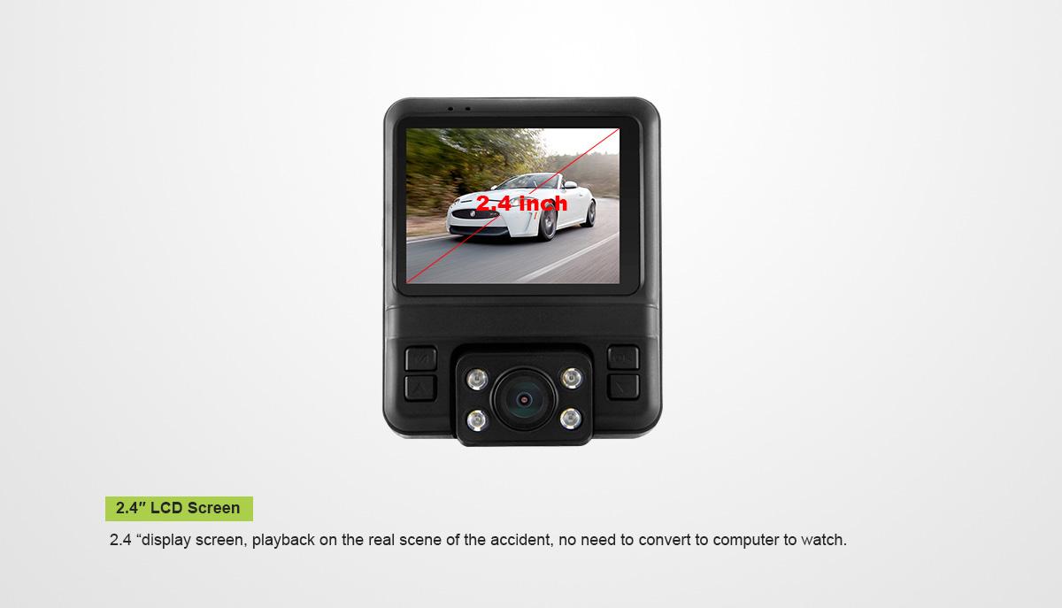 מצלמת דרך עם עדשה פנימית וחיצונית HD עם GPS מותג TAXIBOX - מסך 2.4 אינצ'